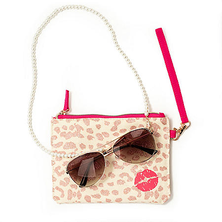Betsey Johnson Rose Gold Aviator Rx-able Sunglasses with Accessories
