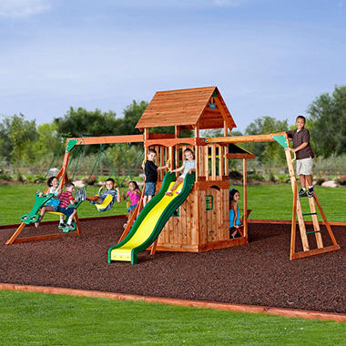Backyard Play backyard discovery saratoga cedar swing/play set - sam's club