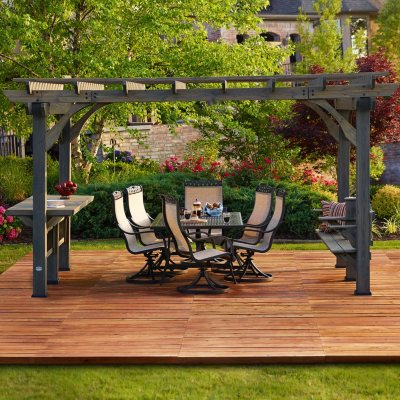 Backyard Discovery Oasis Pergola with Barnstain Finish 14 x 10