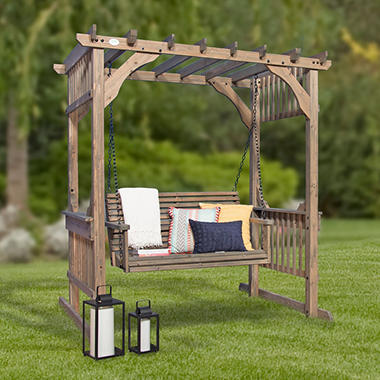 Backyard Discovery Hanging Pergola Swing In Barnstain Finish