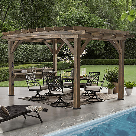 Backyard Discovery 14' x 10' Silverton Pergola with Electric Outlets (Barnwood)
