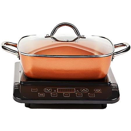 """Copper Chef Induction Cooktop with 11"""" Casserole Pan (Assorted Colors)"""