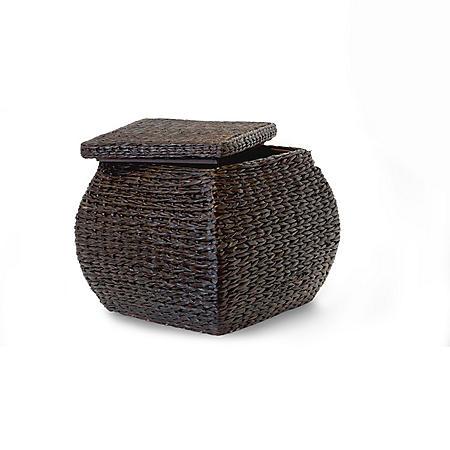 Square Storage Ottoman W/ Lid - Espresso