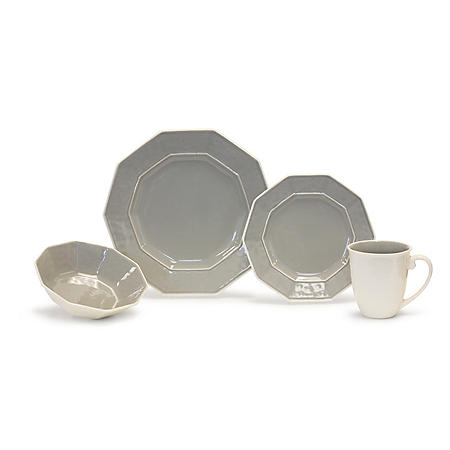 Hex 32-Piece Gray Dinnerware Set