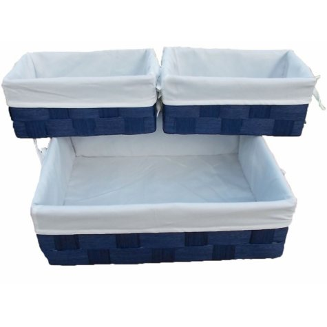 6 Pc Natural Cord Lined Storage Baskets - Blue