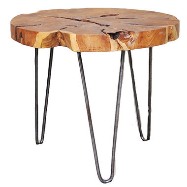 Teak Wood Round Side Table With Metal Legs