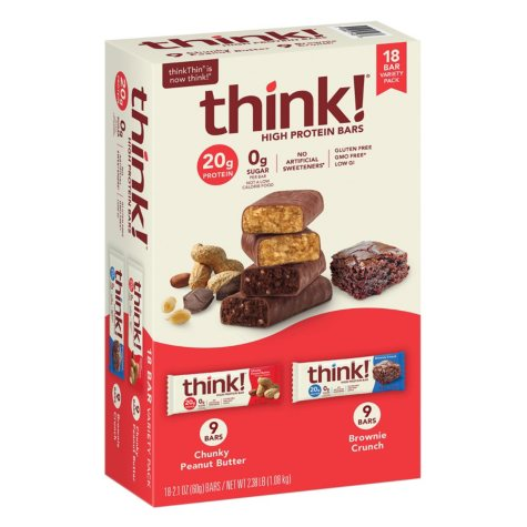 thinkThin High Protein Bars, Chunky Peanut Butter & Brownie Crunch, 2.1 oz Bar (18 ct.)