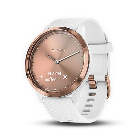 Garmin vívomove HR Smartwatch (White) with Rose Gold Hardware