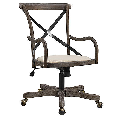 Wes Café Office Chair, Neutral Fabric Seat and Gray Wash Base