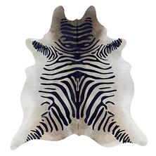Natural Cowhide Rug, Black Zebra Print