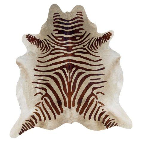 Natural Cowhide Rug, Brown Zebra Print