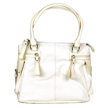 Simply Nina by Nina Raye Genuine Ostrich Embossed Lambskin Leather Handbag
