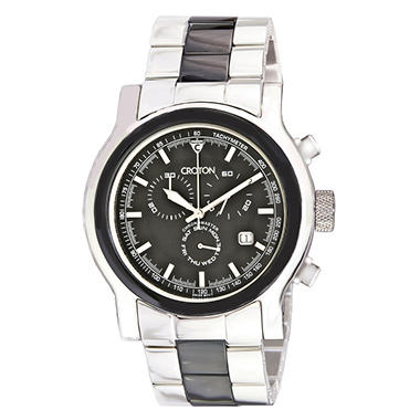 Croton Men's Stainless Steel & Ceramic Swiss Chronograph Watch - Black