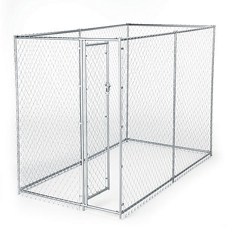 Lucky Dog Galvanized Chain Link w/PC Frame, Kit in a Box - 10'L x 5'W x 4'H or 6.5'L x 8'W x 4'H