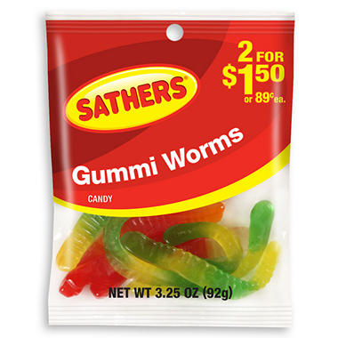 Sathers Gummi Worms (3.25 oz. bag, 12 ct.)