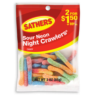 Sathers Sour Neon Nightcrawlers (3 oz. bag, 12 ct.)