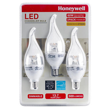 honeywell 65 watt b11 candelabra led light bulb set 3pack