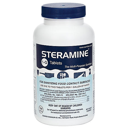 Steramine 1-G Tablets Multi-Purpose Sanitizer (150 tablets)