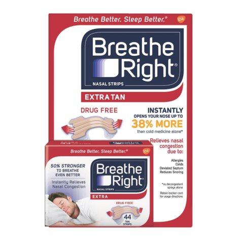 Breathe Right Extra Strength Nasal Strips, Tan (44 ct.)