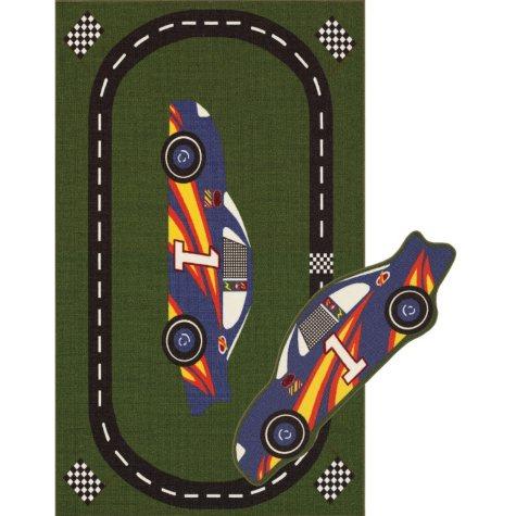 "Champion 2 Rug Set - 4'5"" x 6'9"" Racetrack, 17"" x 43"" Race Car"