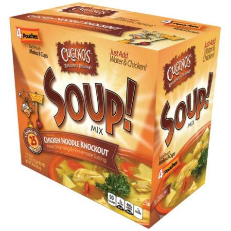 Cugino's Chicken Noodle Knockout Soup Mix, Club Pack (7.5 oz pouch, 4 pouches)