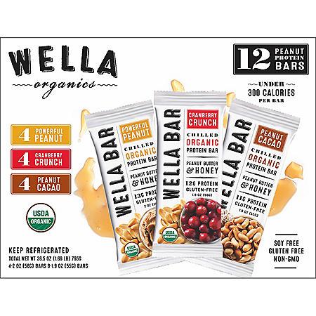 Wella Organics Protein Bars, Peanut Variety Pack (12 ct.)