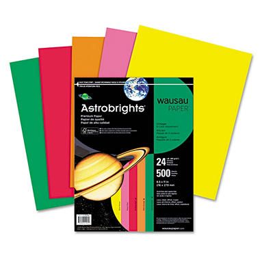 Wausau - Astrobrights Colored Paper, 24lb, Assortments - Ream