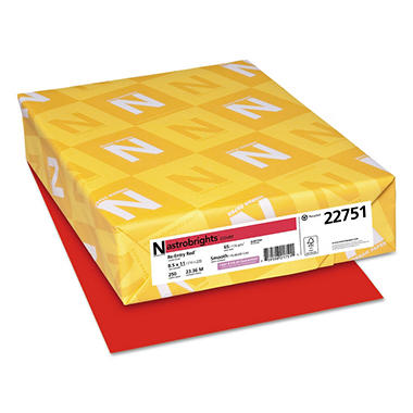 Neenah Astrobrights Colored Card Stock, 65 lb, 8 1/2 x 11, Re-Entry Red, 250 Sheets