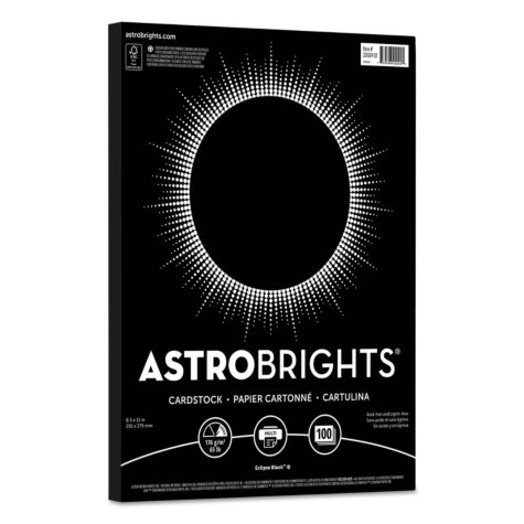 "Astrobrights Colored Cardstock, 8.5"" x 11"", 65 lb/176 gsm, Eclipse Black, 100 Sheets"