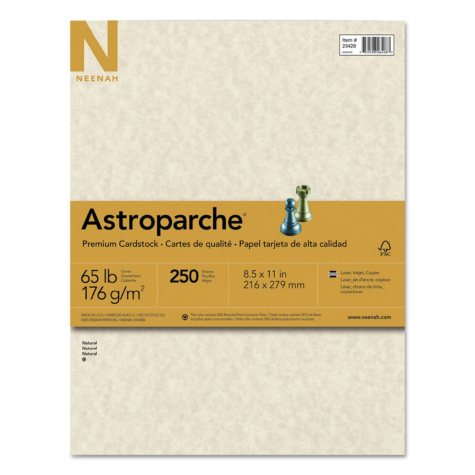 "Neenah Paper Astroparche Specialty Card Stock, 65 lb., 8.5"" x 11"", Natural, 250 Sheets"