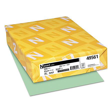 Neenah Paper - Exact Index Card Stock, 110 lbs., 8-1/2 x 11, Green -  250 Sheets/Pack