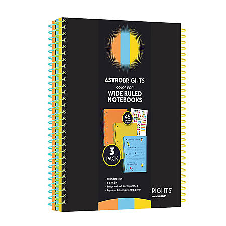 "Astrobrights Wide Ruled Notebooks, 8"" x 10.5"", Multi-Color, 80 Sheets, 3 Pack"