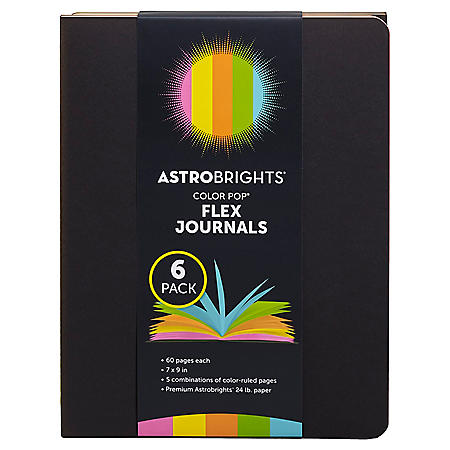 "Astrobrights Flex Journals, 7"" x 9"", Multi-Color, 60 Sheets, 6 Pack"
