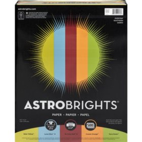 "Astrobrights Color Paper, 24 lb., 8.5"" x 11"", ""Everyday"" 5-Color Assortment, 500 Sheets"