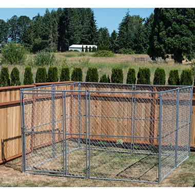 Lucky Dog Modular Chain Link Kennel Kit - 10'L x 10'W x 6'H