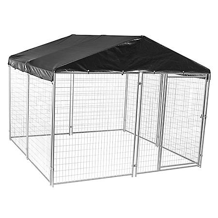 Lucky Dog Modular Welded Wire Kennel Kit w/Cover and Frame - 10'L x 10'W x 6'H
