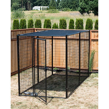 Lucky Dog Modular Kennel with Shade Cloth Roof - 10'L x 5'W x 6'H