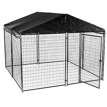 Lucky Dog Black Modular Kennel with Waterproof Cover (10'L x 10'W x 6'H)