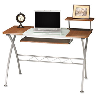 Mayline - Eastwinds Vision Computer Desk - Medium Cherry with White Glass