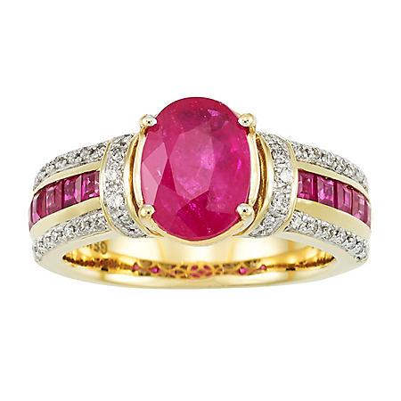 RUBY RING .25TW DIAMOND-14KY