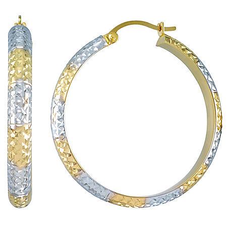 4x35MM Diamond Cut Round Hoop Earrings in 14K Two-Tone Gold