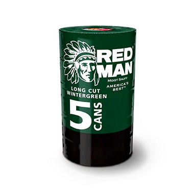Redman Long Cut Wintergreen Moist Snuff (5 cans)