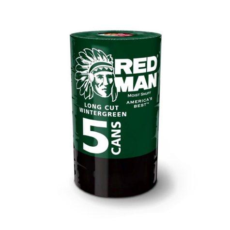Redman Long Cut Wintergreen Moist Snuff (5 cans)