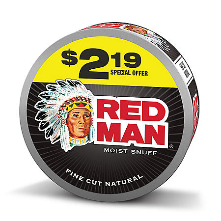 Red Man Moist Snuf Fine Cut Natural Pre-Priced $2.19 (10 cans)