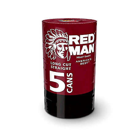 Redman Long Cut Straight Moist Snuff (5 cans)