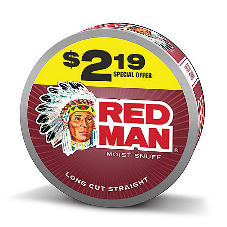 Red Man Moist Snuf Long Cut Straight Pre-Priced $2.19 (10 cans)