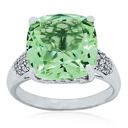 TRTD GRN AMY RING .14TW DIAMOND-14KW