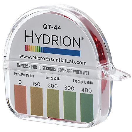 Hydrion QT-44 Quat Test Paper for 4 Chain Quats (0-400 PPM)