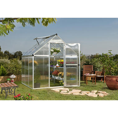 Palram Nature 6' x 6' Greenhouse - Silver Frame - Twin-wall