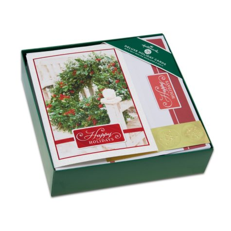 Hallmark Deluxe Faith Boxed Christmas Cards - Wreath Photo Deluxe